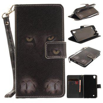 Cover Case for LG Xpower Mystery Cat PU+TPU Leather with Stand and Card Slots Magnetic Closure - BLACK BLACK