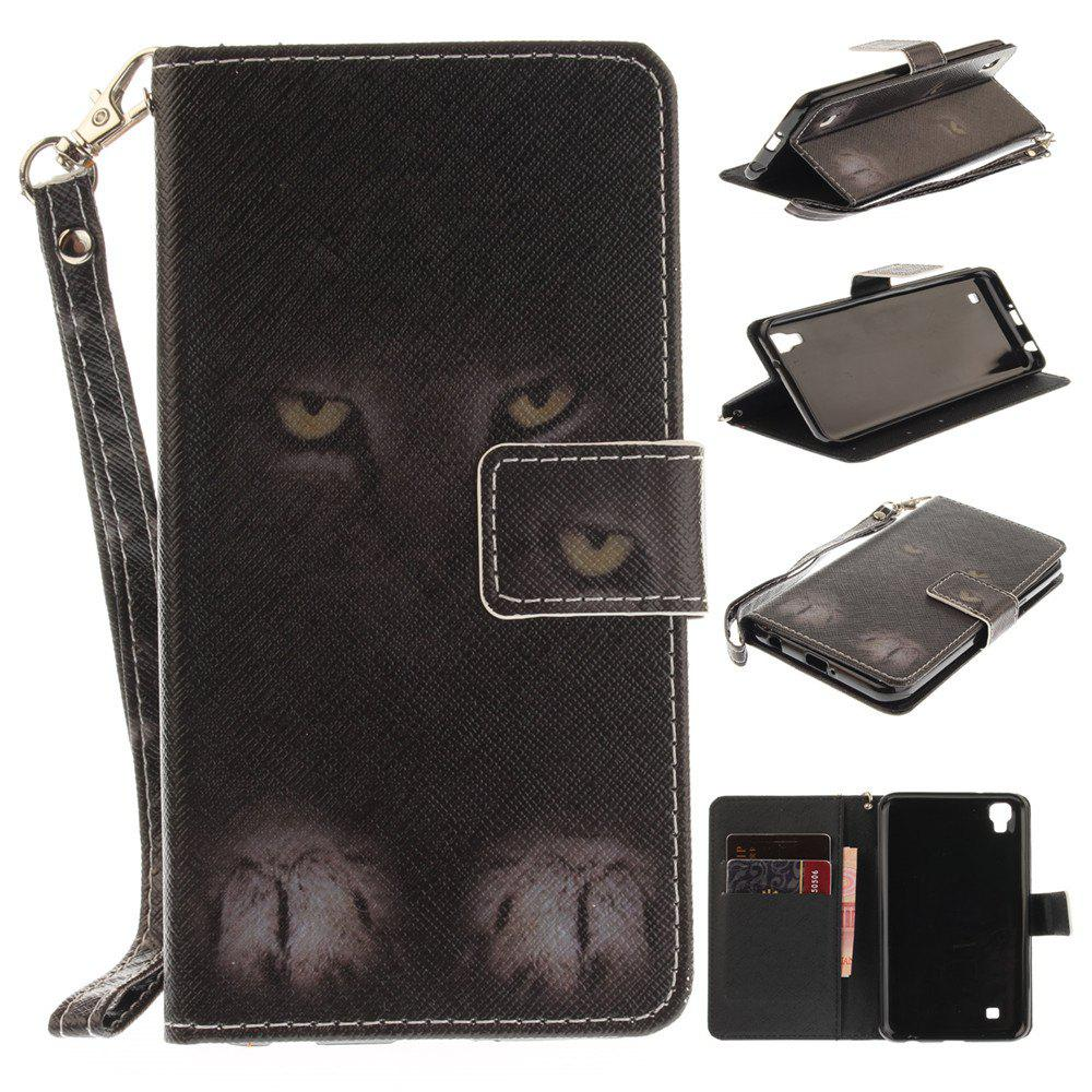 Cover Case for LG Xpower Mystery Cat PU+TPU Leather with Stand and Card Slots Magnetic Closure - BLACK