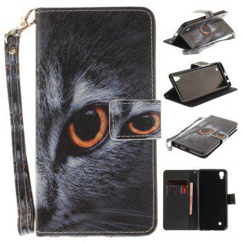 Cover Case for LG Xpower Half A Face of A Cat PU+TPU Leather with Stand and Card Slots Magnetic Closure - BLACK BLACK
