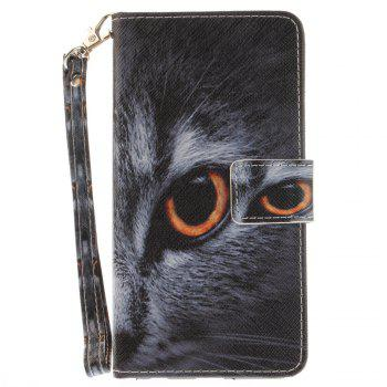 Cover Case for LG Xpower Half A Face of A Cat PU+TPU Leather with Stand and Card Slots Magnetic Closure - BLACK