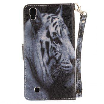 Cover Case for LG Xpower The White Tiger PU+TPU Leather with Stand and Card Slots Magnetic Closure - WHITE