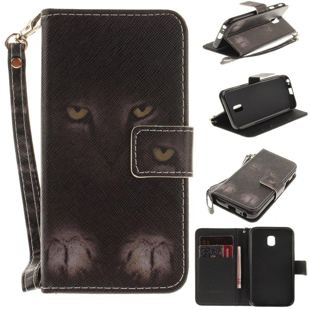 Cover Case for Samsung Galaxy J3 2017 J330 Mystery Cat PU+TPU Leather with Stand and Card Slots Magnetic Closure - BLACK