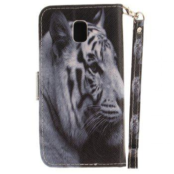 Cover Case for Samsung Galaxy J3 2017 J330 The White Tiger PU+TPU Leather with Stand and Card Slots Magnetic Closure - WHITE