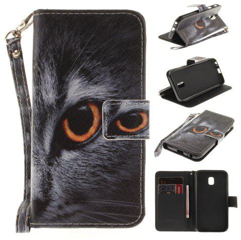 Cover Case for Samsung Galaxy J3 2017 J330 Half Face of A Cat PU+TPU Leather with Stand and Card Slots Magnetic Closure - BLACK
