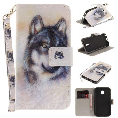 Cover Case for Samsung Galaxy J3 2017 J330 Wolf PU+TPU Leather with Stand and Card Slots Magnetic Closure - WHITE