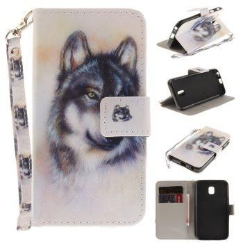 Cover Case for Samsung Galaxy J3 2017 J330 Wolf PU+TPU Leather with Stand and Card Slots Magnetic Closure - WHITE WHITE
