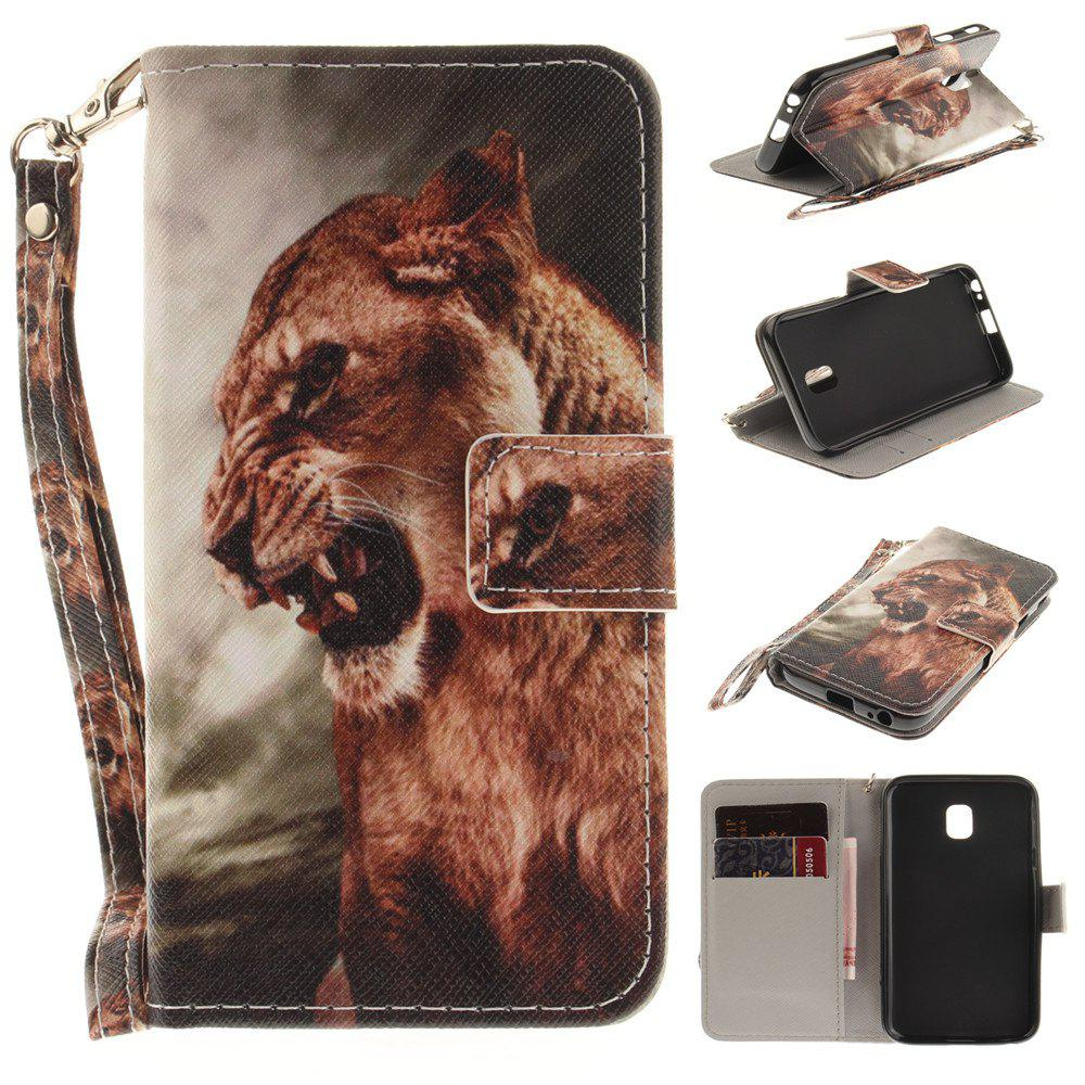 Cover Case for Samsung Galaxy J3 2017 J330 A Male Lion PU+TPU Leather with Stand and Card Slots Magnetic Closure - COLORMIX