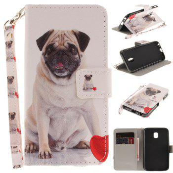 Cover Case for Samsung Galaxy J3 2017 J330 Pug PU+TPU Leather with Stand and Card Slots Magnetic Closure - WHITE WHITE