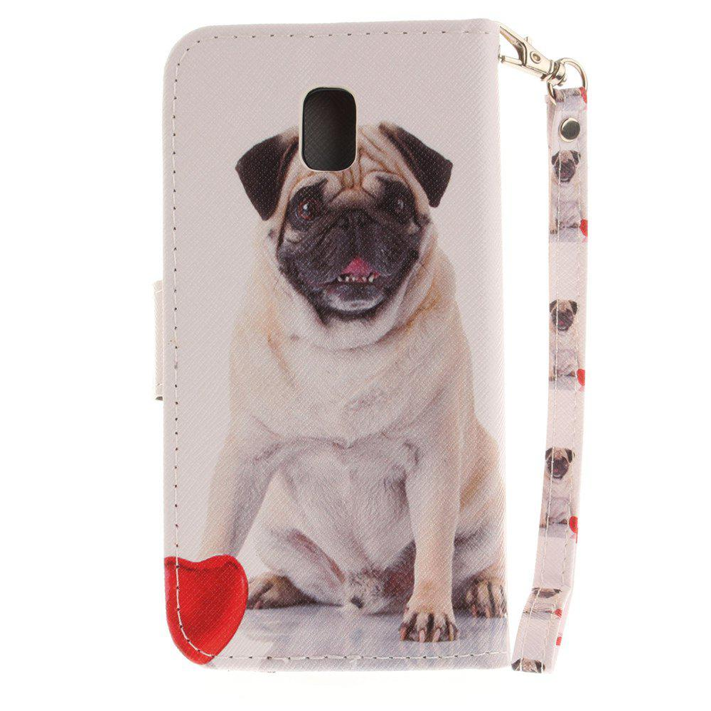 Cover Case for Samsung Galaxy J3 2017 J330 Pug PU+TPU Leather with Stand and Card Slots Magnetic Closure - WHITE