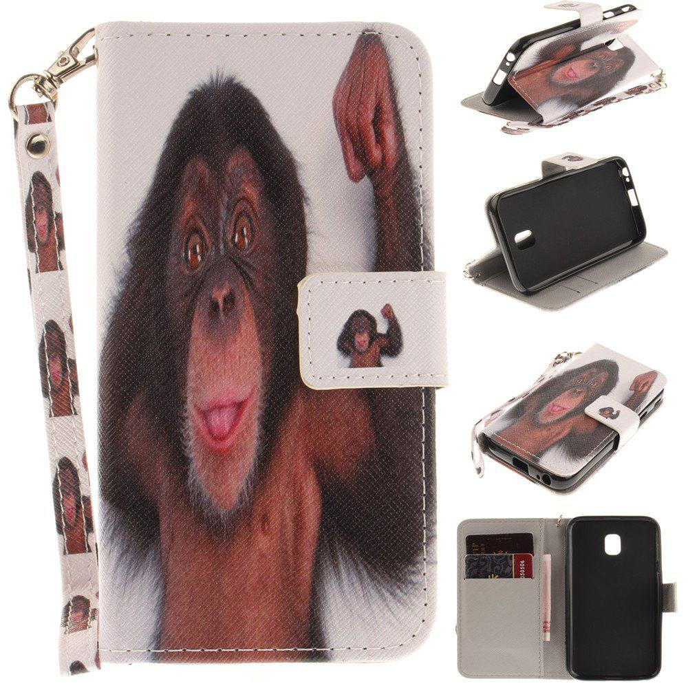 Cover Case for Samsung Galaxy J3 2017 J330 Monkey PU+TPU Leather with Stand and Card Slots Magnetic Closure - COLORMIX
