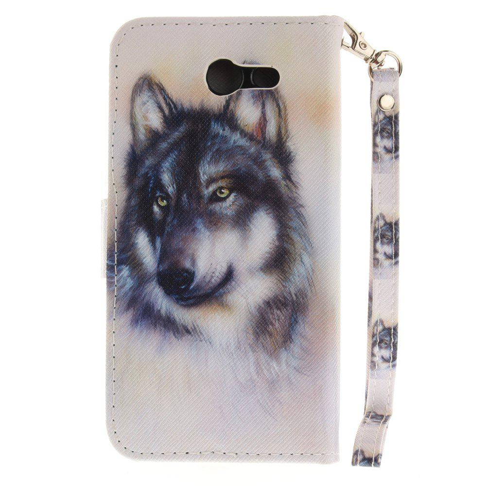 Cover Case for Samsung Galaxy J3 2017 Wolf PU+TPU Leather with Stand and Card Slots Magnetic Closure - WHITE