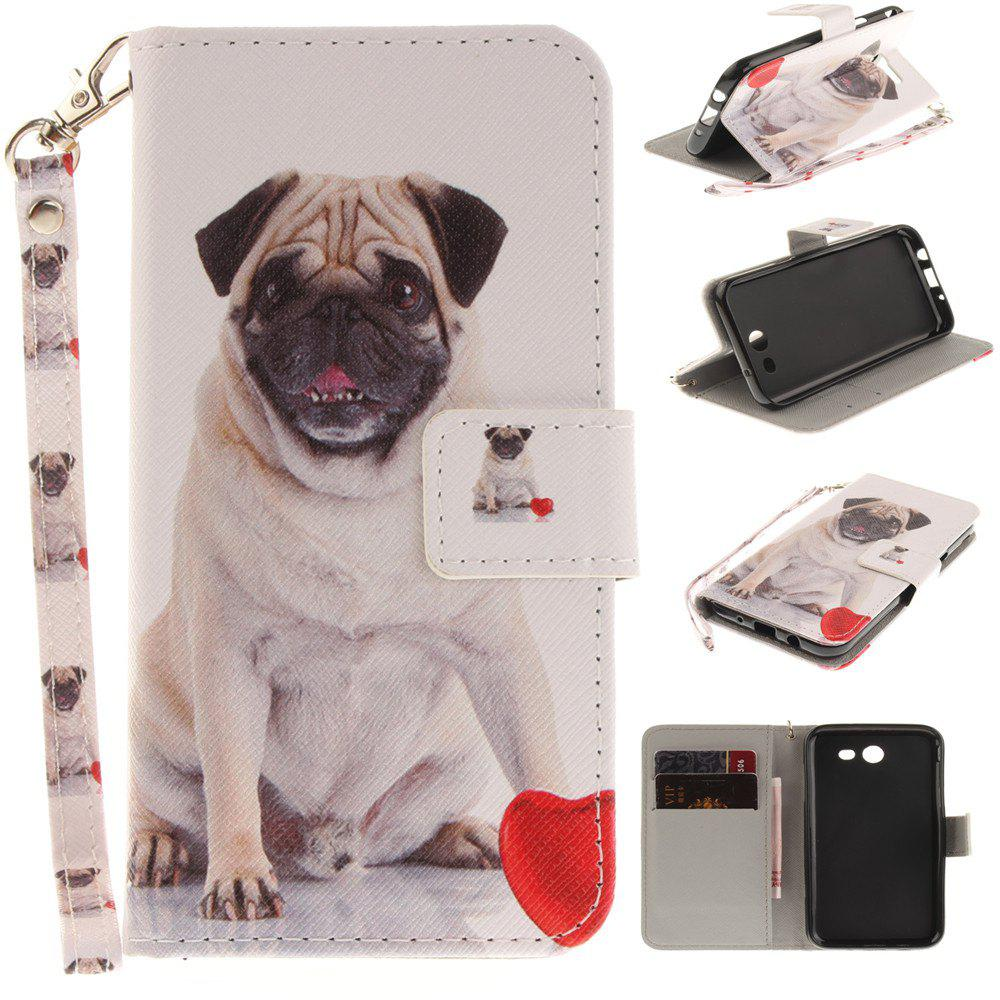 Cover Case for Samsung Galaxy J3 2017 Pug PU+TPU Leather with Stand and Card Slots Magnetic Closure - WHITE