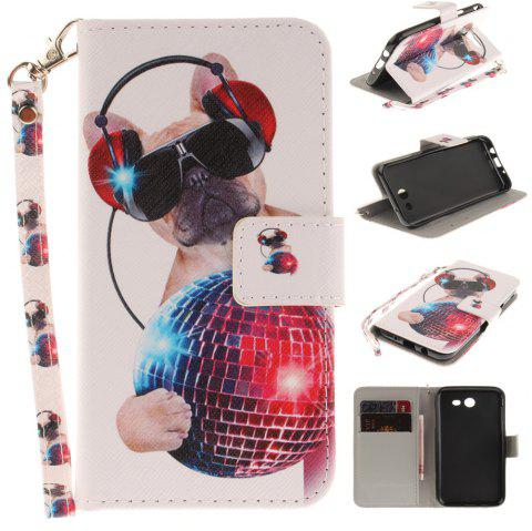 Cover Case for Samsung Galaxy J3 2017 Fashion Dog PU+TPU Leather with Stand and Card Slots Magnetic Closure - COLORMIX