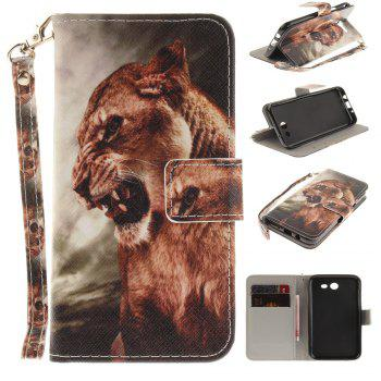 Cover Case for Samsung Galaxy J3 2017 A Male Lion PU+TPU Leather with Stand and Card Slots Magnetic Closure - COLORMIX COLORMIX