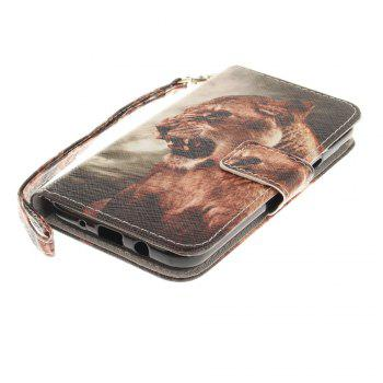 Cover Case for Samsung Galaxy J3 2017 A Male Lion PU+TPU Leather with Stand and Card Slots Magnetic Closure - COLORMIX