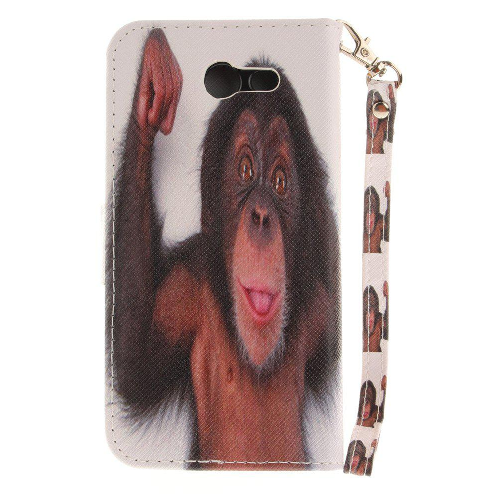 Cover Case for Samsung Galaxy J3 2017 Monkey PU+TPU Leather with Stand and Card Slots Magnetic Closure - BLACK