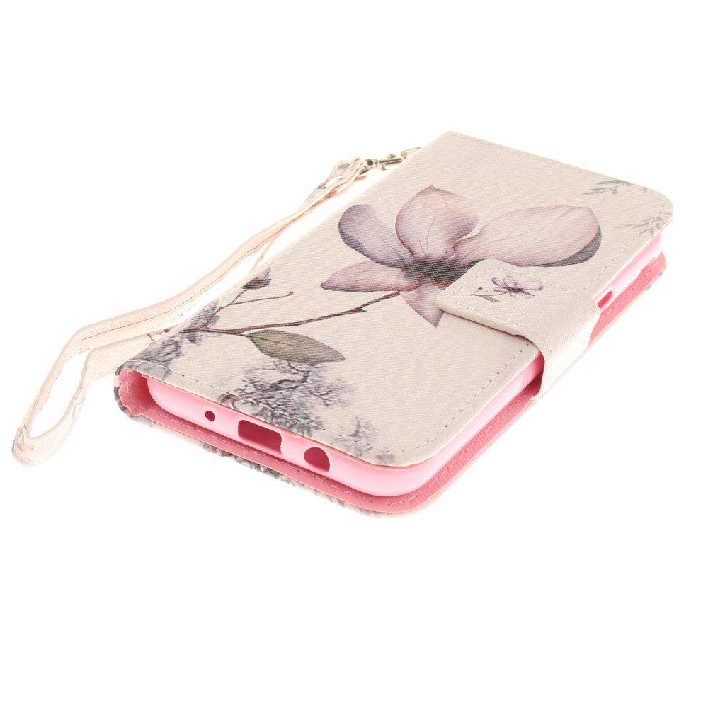 Cover Case for Samsung Galaxy J3 2017 Magnolia PU+TPU Leather with Stand and Card Slots Magnetic Closure - WHITE