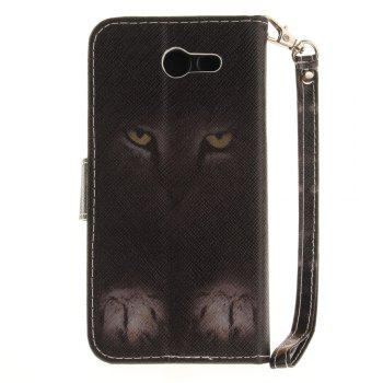Cover Case for Samsung Galaxy J3 2017 Mystery Cat PU+TPU Leather with Stand and Card Slots Magnetic Closure - BLACK