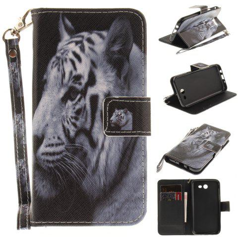Cover Case for Samsung Galaxy J3 2017 The White Tiger PU+TPU Leather with Stand and Card Slots Magnetic Closure - WHITE
