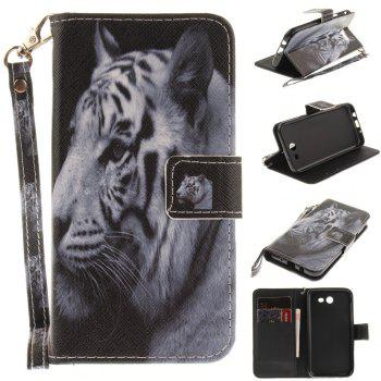 Cover Case for Samsung Galaxy J3 2017 The White Tiger PU+TPU Leather with Stand and Card Slots Magnetic Closure - WHITE WHITE