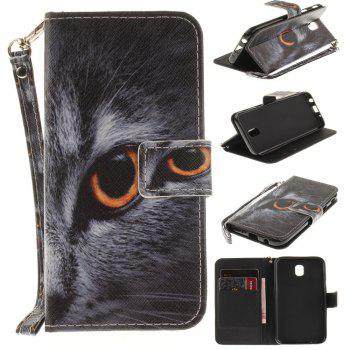 Cover Case for Samsung Galaxy J7 2017 J730 Half Face of A Cat PU+TPU Leather with Stand and Card Slots Magnetic Closure - BLACK BLACK