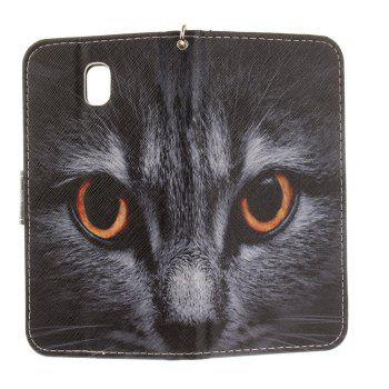 Cover Case for Samsung Galaxy J7 2017 J730 Half Face of A Cat PU+TPU Leather with Stand and Card Slots Magnetic Closure -  BLACK