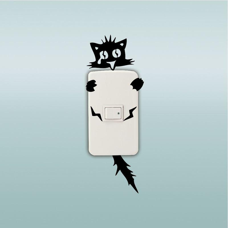 DSU Creative Electrocuted Cat Interrupteur Autocollant Funny Cartoon Vinyl Wall Sticker / Decal - Noir 11X8CM