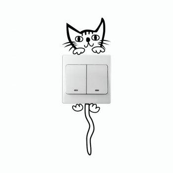 DSU Mignon de Bande Dessinée Kitty Light Interrupteur Autocollant de Bande Dessinée Chat Vinyle Wall Sticker pour Enfants - Noir 15X8CM