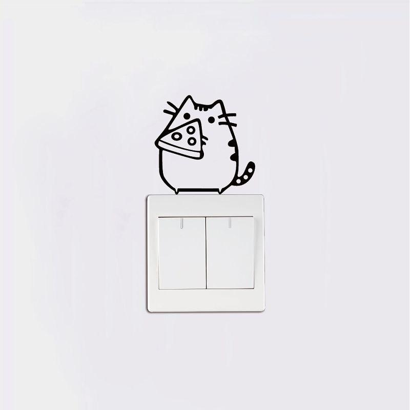 DSU Fat Cats Manger Fromage Vinyle Switch Autocollant Mignon Animal de Bande Dessinée Vinyle Wall Sticker - Noir 7X7CM