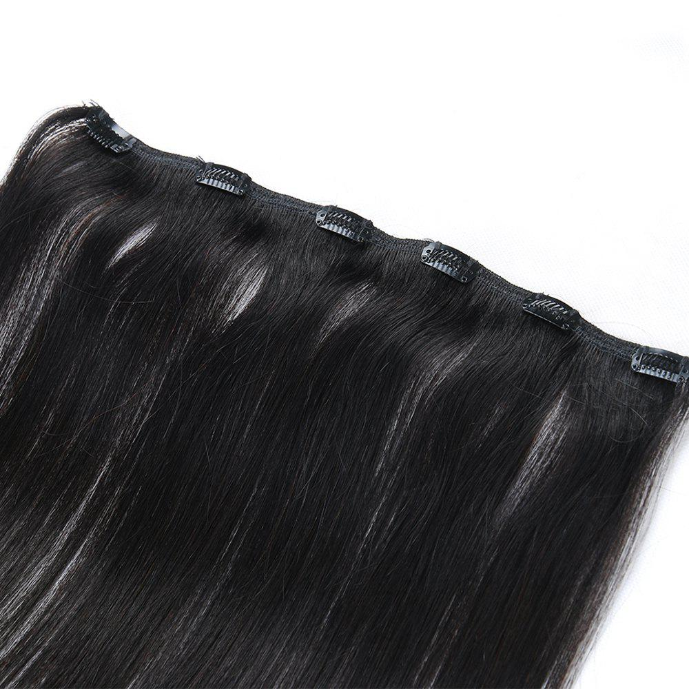 One Piece Straight Hair Secret Invisible Hairpiece Clip in Hair Extensions 6 Clip 20g 18inch - BLACK 18INCH