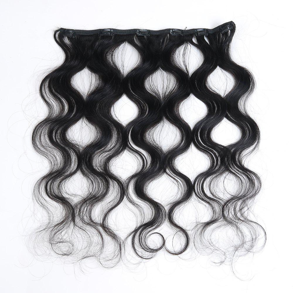 One Piece Body Wave Secret Invisible Hairpiece Clip in Hair Extensions 6 Clip 20g 18inch - BLACK 18INCH