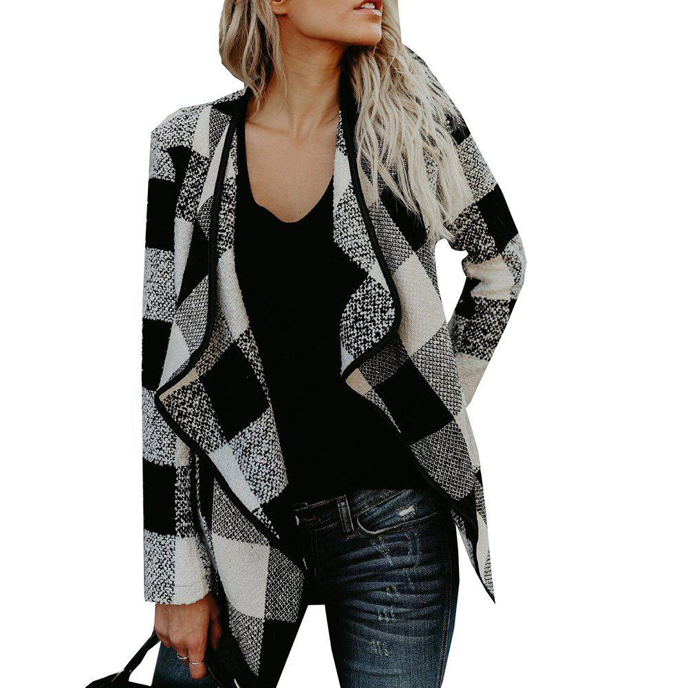 Lapel Plaid  Slim Wool Coat - WHITE S