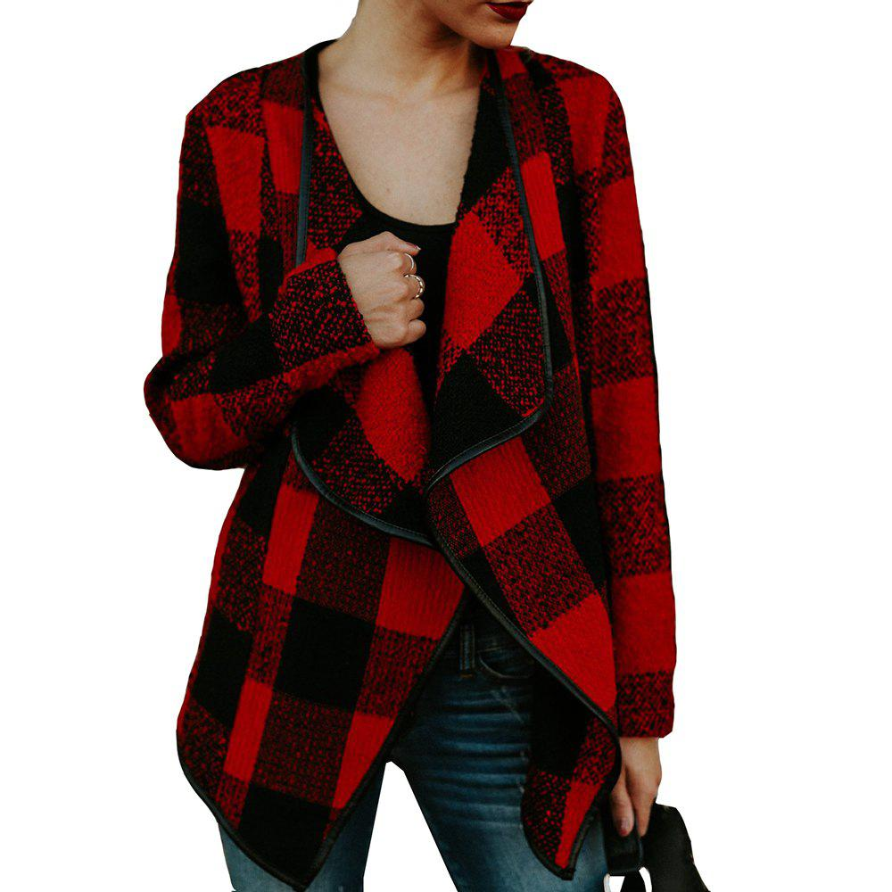 Lapel Plaid Slim Laine Manteau - Rouge S