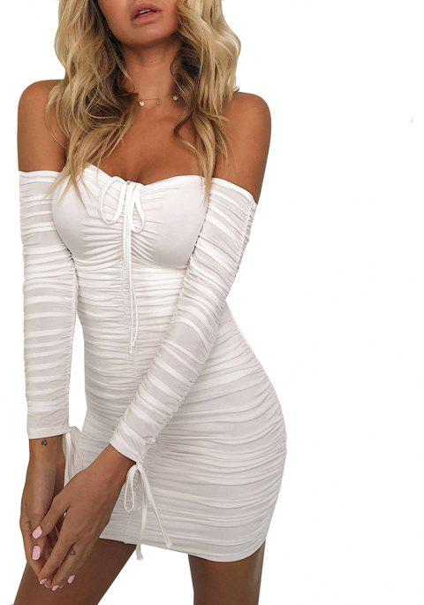 Off Shoulder Sexy Long Sleeve Ruched Mini Dress - WHITE XL
