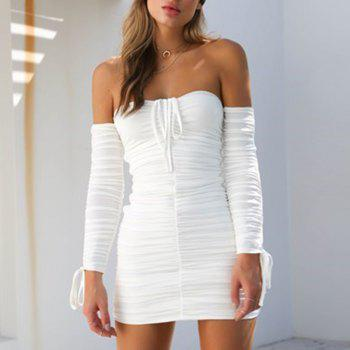 Off Shoulder Sexy Long Sleeve Ruched Mini Dress - WHITE L