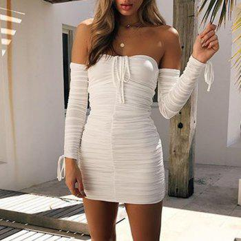 Off Shoulder Sexy Long Sleeve Ruched Mini Dress - WHITE S