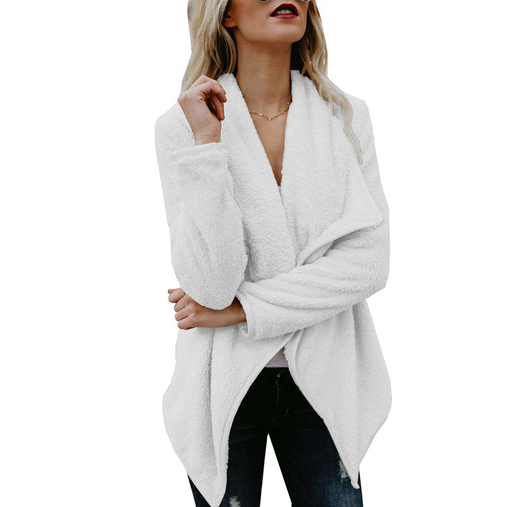 Extra Thick Warm Furry Coat - WHITE L