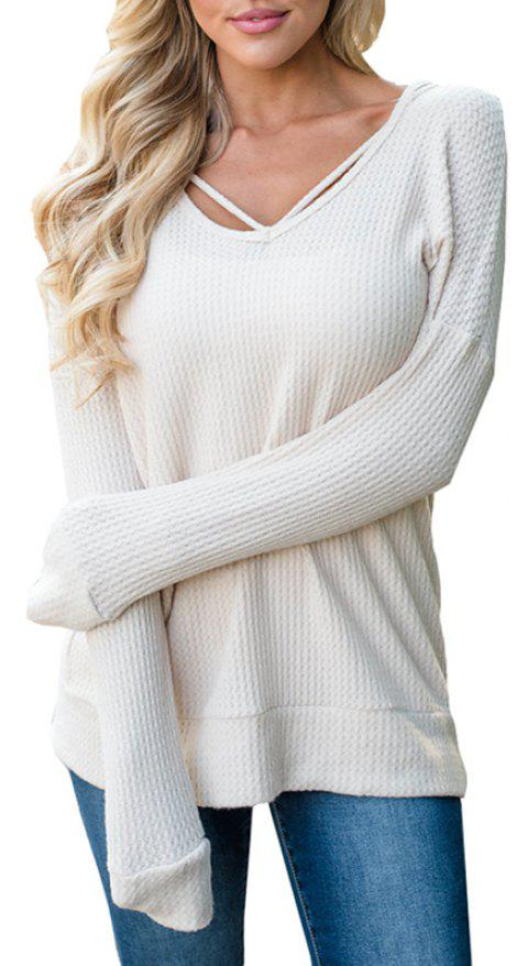 Hooded Casual Knit Sweater - WHITE L