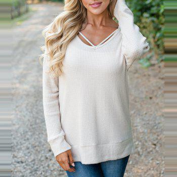 Hooded Casual Knit Sweater - WHITE S