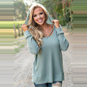 Hooded Casual Knit Sweater - GREEN M