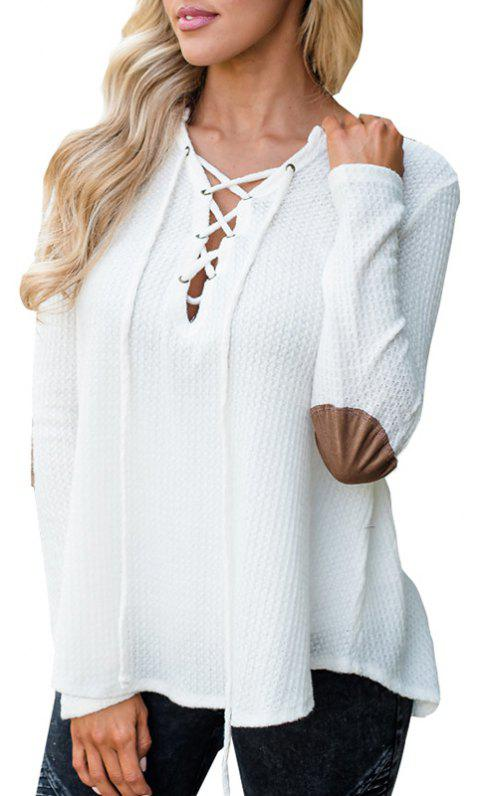 V Neck Casual Patchwork Knit Sweater - WHITE S