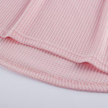 V Neck Casual Patchwork Knit Sweater - PINK L