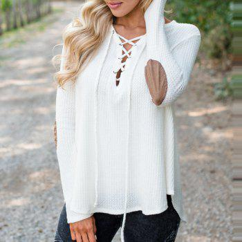 V Neck Casual Patchwork Knit Sweater - WHITE L