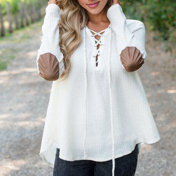 V Neck Casual Patchwork Knit Sweater - WHITE M