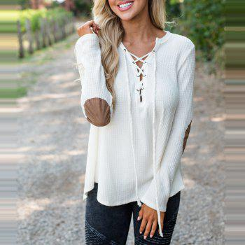 V Neck Casual Patchwork Knit Sweater - WHITE XL