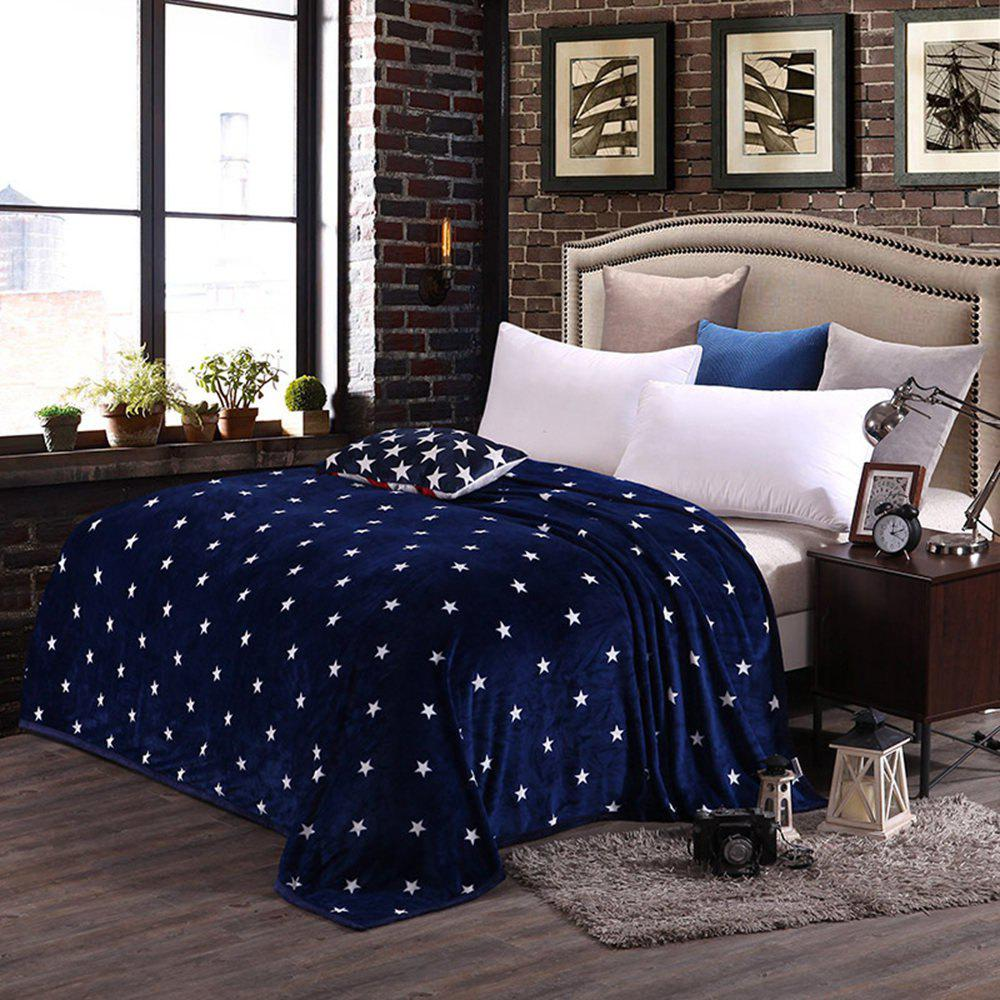 High Density Super Soft Flannel Leisure Blanket Can be Bedsheets - BLUE STARS 150CM X 200CM