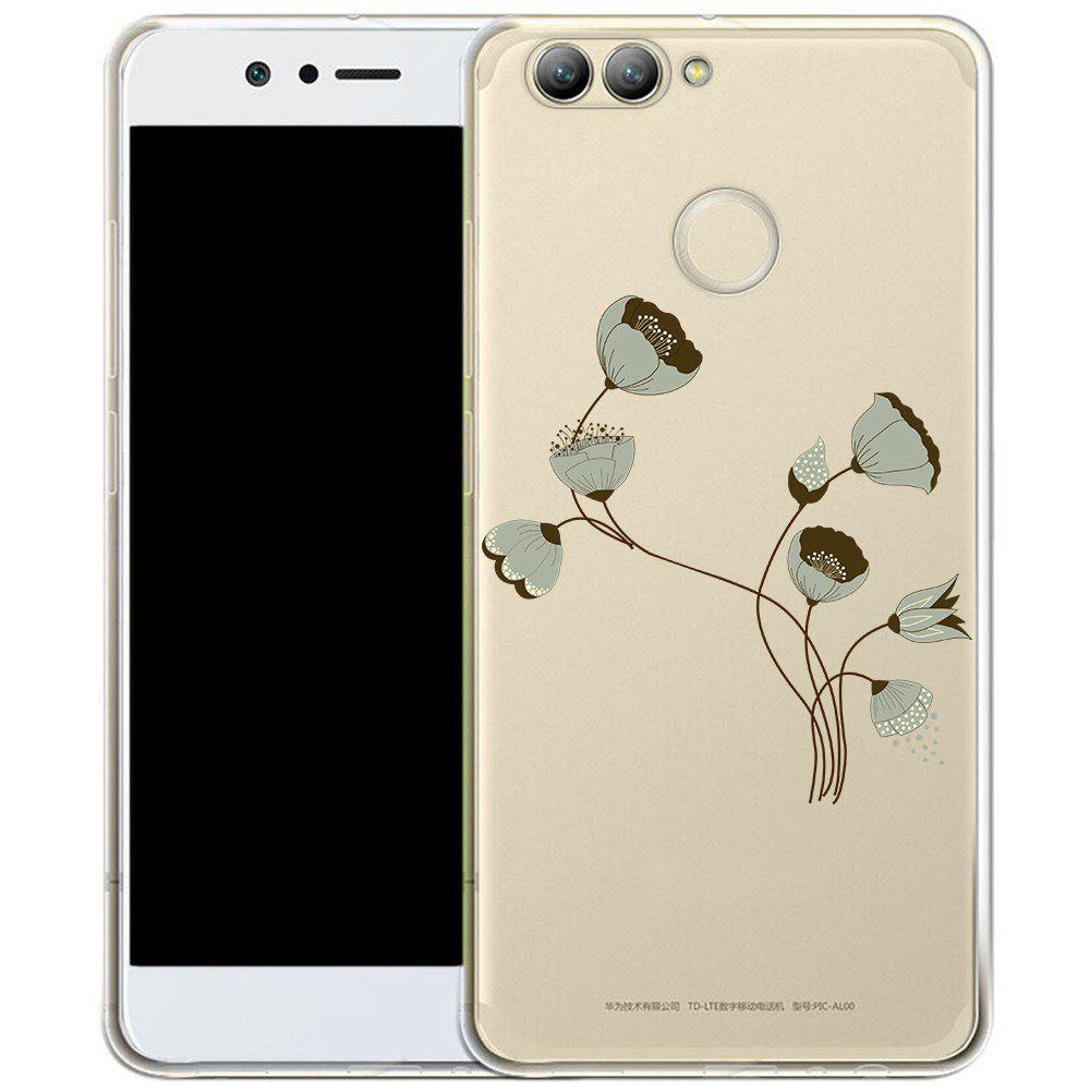 Phone Case for HuaWei Nova 2 Plus TPU Transparent Soft Shell Painted Lotus Pattern - TRANSPARENT