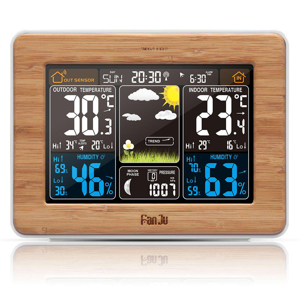 FanJu FJ3365 Weather Station Color Forecast with Alert Temperature Humidity Barometer Alarm Moon Phase - WOOD