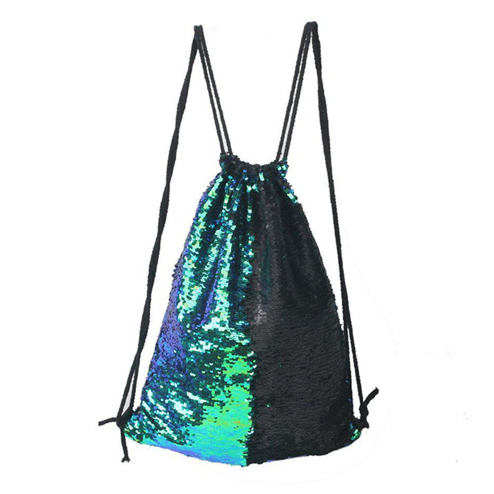 High Quality Drawstring Sports Bag Climbing Hiking Shopping Backpack Trendy - GREEN