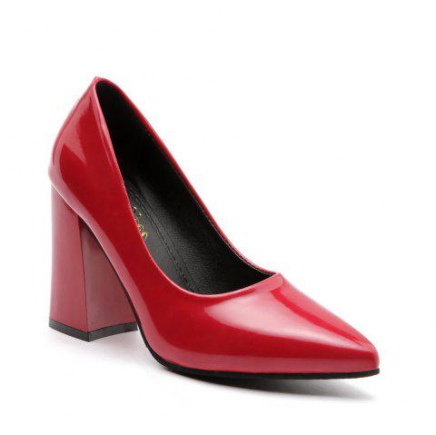 New Rough Shallow Mouth All-Match Occupation Female Leather High-Heeled Shoes - RED 38